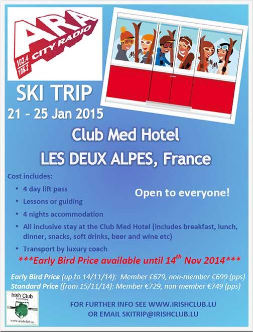 Irish Club with ARACity Radio Ski Trip poster