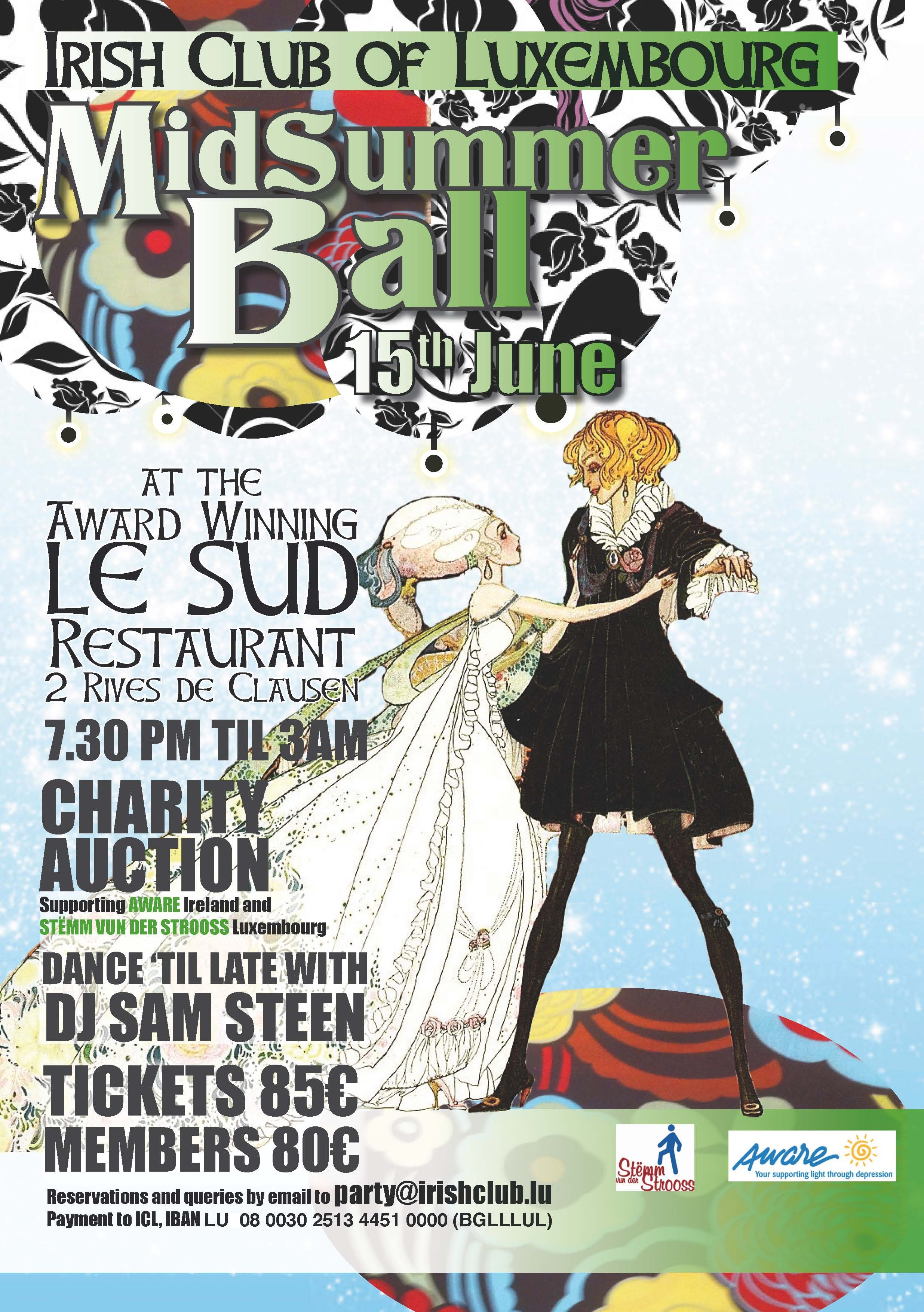 Irish Club of Luxembourg Midsummer Ball on Saturday 15 June 2013 at Restaurant Le Sud from 7.30 pm